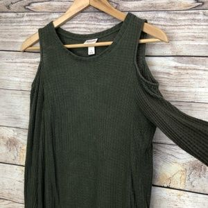 Distressed Green Cold Shoulder Top